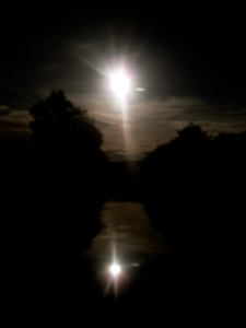 Reflection of the Moon in the canal